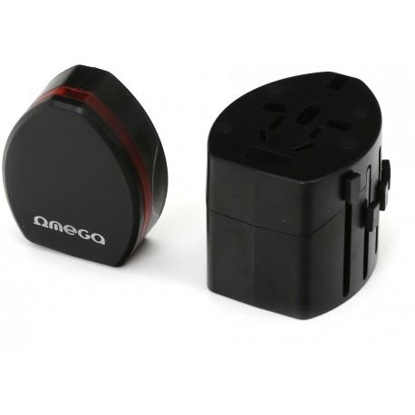 Omega reisiadapter 4in1 USB, must (43354) - Photopoint