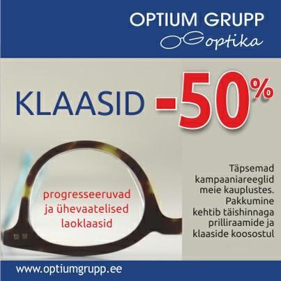 VÕTA OPTIUM GRUPP OPTIKAST KLAASID -50% SOODSAMALT! - Optium Optika