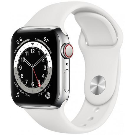 Apple Watch 6 GPS + Cellular 40mm Stainless Steel Sport Band, silver/white (M06T3EL/A) - Photopoint