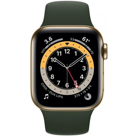 Apple Watch 6 GPS + Cellular 40mm Stainless Steel Sport Band, gold/cyprus green (M06V3EL/A) - Photopoint