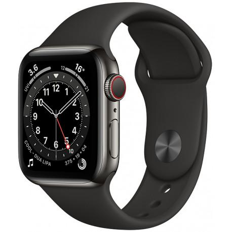 Apple Watch 6 GPS + Cellular 40mm Stainless Steel Sport Band, graphite/black (M06X3EL/A) - Photopoint