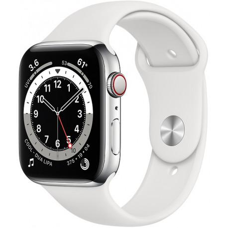 Apple Watch 6 GPS + Cellular 44mm Stainless Steel Sport Band, silver/white (M09D3EL/A) - Photopoint