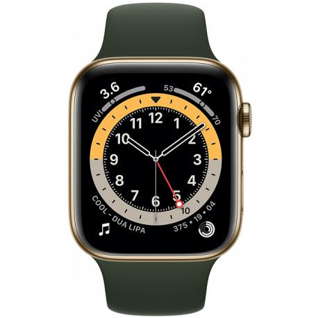 Apple Watch 6 GPS + Cellular 44mm Stainless Steel Sport Band, gold/cyprus green (M09F3EL/A) - Photopoint