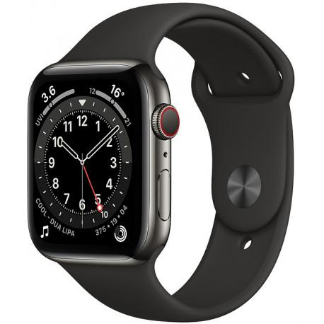 Apple Watch 6 GPS + Cellular 44mm Stainless Steel Sport Band, graphite/black (M09H3EL/A) - Photopoint