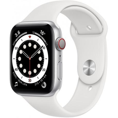 Apple Watch 6 GPS + Cellular 44mm Sport Band, silver/white (MG2C3EL/A) - Photopoint