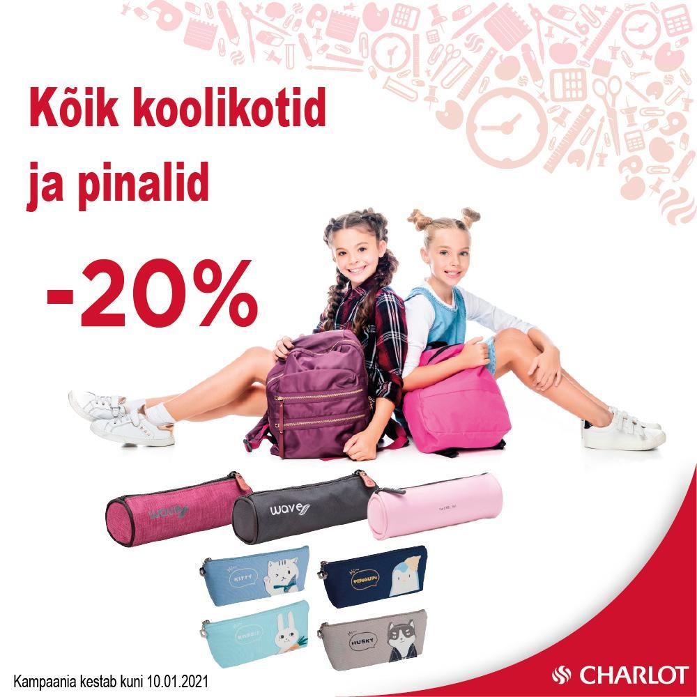 KÕIK KOOLIKOTID JA PINALID -20% - Charlot
