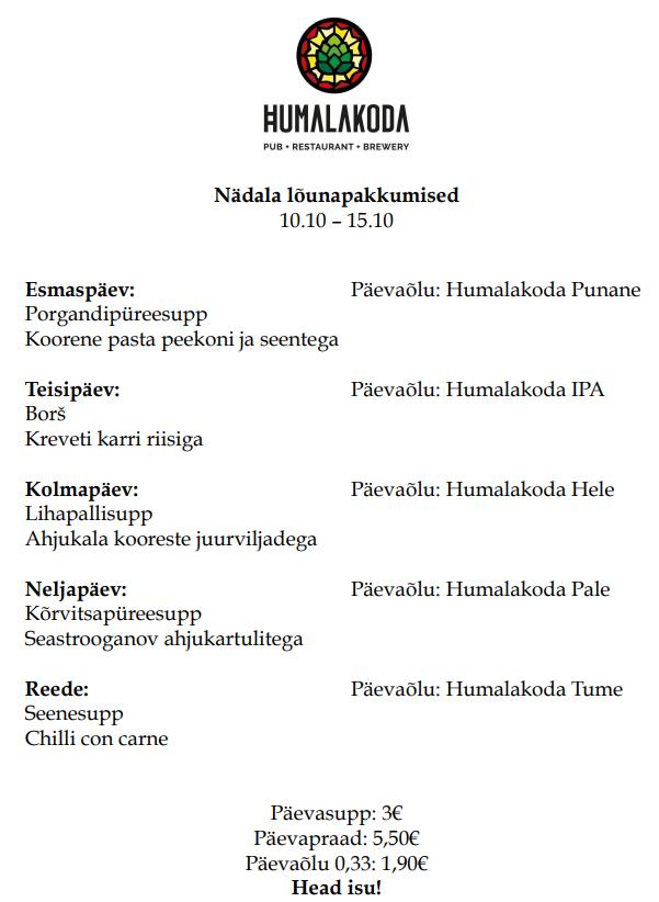 Lõunapakkumine Humalakojas 11.07-15.07 - Humalakoda